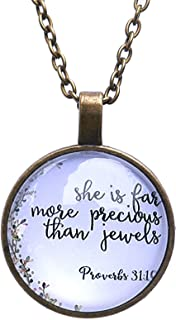 Proverbs 31:10 Christian Pendant Necklace: She Is Far More Precious Than Jewels - Christmas, Mother's Day, Religious Gift