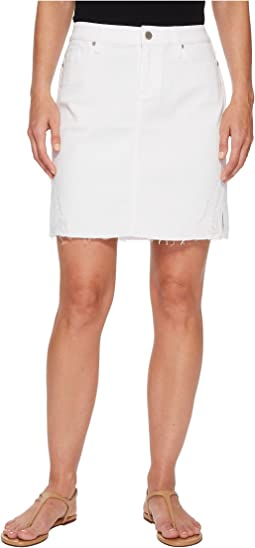 Slit Hem Skirt in Comfort Stretch Denim in Bright White