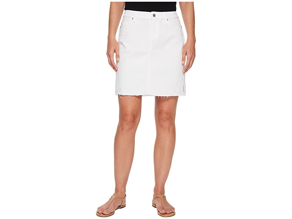 Liverpool Slit Hem Skirt in Comfort Stretch Denim in Bright White (Bright White) Women
