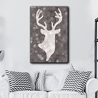 wall26 - Hip Modern Canvas Stag Head Silhouette on Bokeh Background - Home and Dorm Room Decoration - Canvas Art Home Decor - 24x36 inches