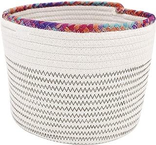 TerriTrophy Small Storage Basket 10in x 10in x 8in- Cute Cotton Rope Basket - Closet Storage Bins - Desk Basket Organizer - Baby Nursery Organizer for Toy Storage Bin