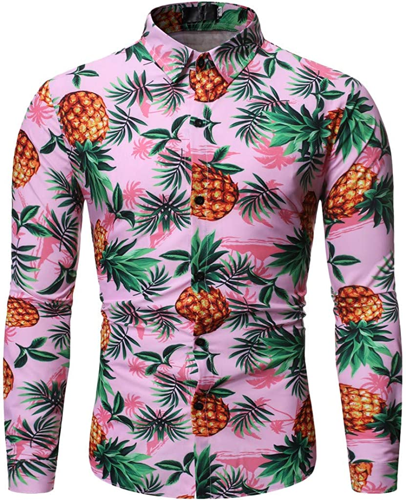 VEZAD Store Pineapple Shirt Men's Autumn Winter Printed Trun-Down Collar Button Solid Long Sleeve Top