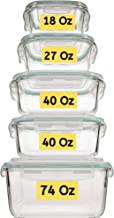 Extra Large & Assorted sizes Glass Food Storage Containers with Airtight Lids 10 Pc [5 containers with lids] Microwave/Ove...