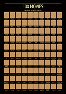 100 Movies Scratch Off Poster - Top Films of All Time Bucket List -Must See Movie Challenge - 100 Essential Movies Scratch...