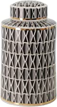 "Sagebrook Home 14757-01 Ceramic 12"" Covered Jar, Criss-Cross, Navy, BLACK"