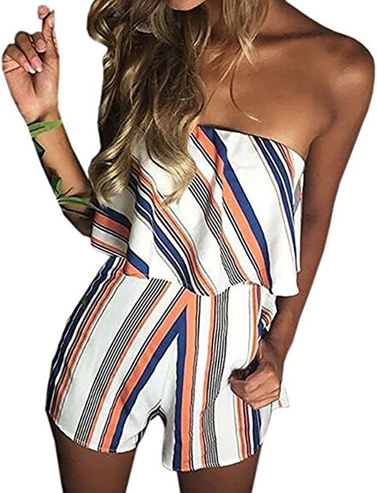 DDSOL Women 4 years warranty Sexy Off Shoulder Printed New popularity One Piece Playsuit Floral