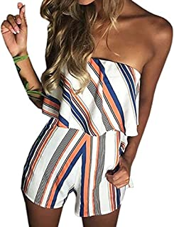 db6b96e773c Tkria Women Sexy Off Shoulder Floral Printed Playsuit One Piece Summer  Strapless Romper Beach Short Jumpsuit