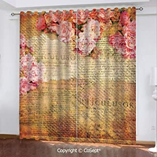 Solid Polyester Window Curtain,Artsy Work Combined with Roses and Old Love Letters in Nostalgic Design Antique,for Bedroom (2 Panels,51.96x84.64 Inch), Cream