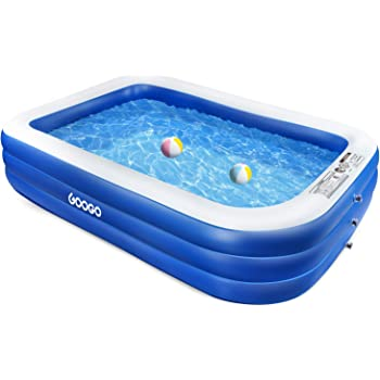 """GOOGO Family Inflatable Swimming Pool, 118""""x72""""x20"""" Full-Sized Inflatable Lounge Pool for Kiddie, Kids, Adults, Easy Set Swimming Pool for Backyard, Summer Water Party, Outdoor"""