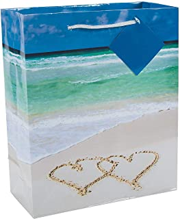 Fun Express - Wedding Beach Gift Bags for Wedding - Party Supplies - Bags - Paper Gift W & Handles - Wedding - 12 Pieces