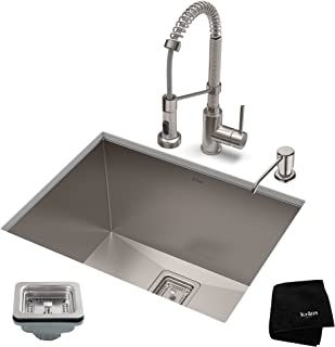 KRAUS KHU24L-1610-53SS Set with Pax Stainless Steel Laundry Utility Sink and Bolden Commercial Pull Faucet Kitchen Sink & Faucet Combo, Soap Dispenser