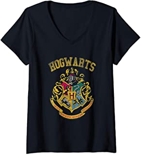 Femme Harry Potter Varsity Crest T-Shirt avec Col en V