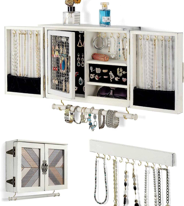 Buy Wall Jewelry Organizer, Wooden Jewelry Holder Wall Mount ...