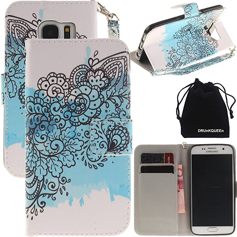 S7 Case, Galaxy S7 Case, DRUnKQUEEn Wallet Purse Type Leather Credit Cards Case with Cellphone Holder Flip Cover for Samsung Galaxy S7 - Hand Strap Included