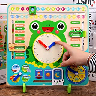 XuendaoWooden Clock Calendar Weather Season Month Cognitive Board Kids Educational Toy Anti-Tear Early Learning Toys for T...