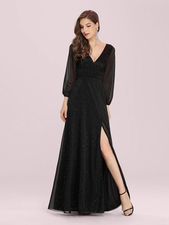 Ever-Pretty Women's V-Neck Front Wrap High Thigh Slit Evening Dress 0739