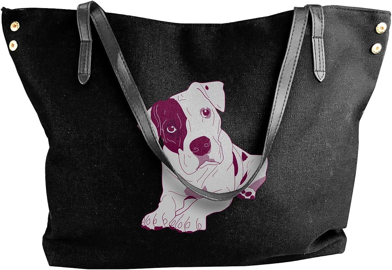 Pitbull Clipart Cute Women'S Recreation Canvas Shoulder Bag For School Big Shopping Bag