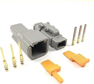 5x Deutsch DTM 2-Pin Connector Plug Kit 24-20 AWG Gold Contact DTM04-2P DTM06-2S