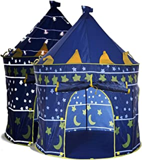 Kids Play Tent & Carrying Case & Children Castle Playhouse for Girls & Boys, Indoor & Outdoor Use