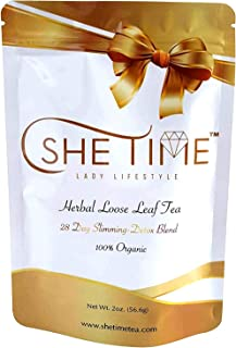 She Time Detox Tea - Natural Weight Loss, Energy, Appetite Control and Metabolism Boost. Herbal Teatox for Belly Fat. 28 Day Organic Body Cleanse. Ultimate Healthy Colon.
