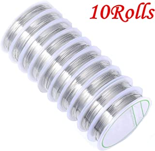 HAN SHENG 10 Pcs Bare Copper Beading Wire Tarnish Resistant Jewelry Making Wire Craft Wire (0.4MM, Silver)