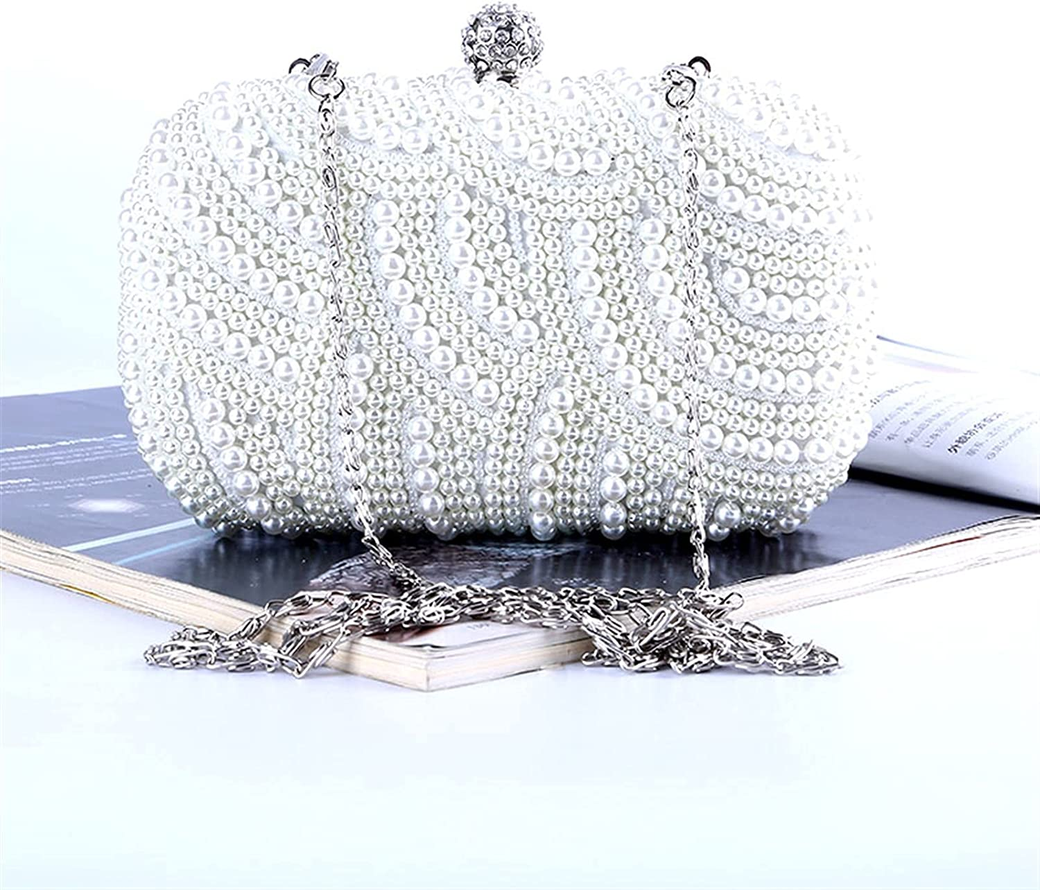 ATHH Pearl Handbags Wedding Clutch Bag Party Purse and Handbag Women's Evening Bag Luxury with Chain Shoulder Party Purse