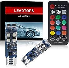 LEADTOPS 194 W5W 168 RGB White T10 LED Light Bulb-RF Remote Control Courtesy MAP Lights Interior Car License Plate Dome Ma...