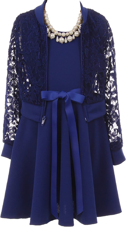 Beautiful 3 Pieces Lace Jacket Dress Necklace Set Flower Girl Dress Size 4-14