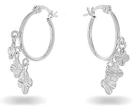 PORI JEWELERS Sterling Silver Diamond Cut Charm Hoop Earrings - for Women - French Lock