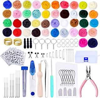 Needle Felting Kit Wool Felt Tools Wool Roving for Felting Wool Needle Hand Spinning DIY Craft Making Ideal Gift (42 Colors)