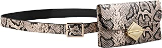 HZMAN Flap Crossbody Bags Snakeskin Leather Fanny Pack for Women Chain Belt Bag