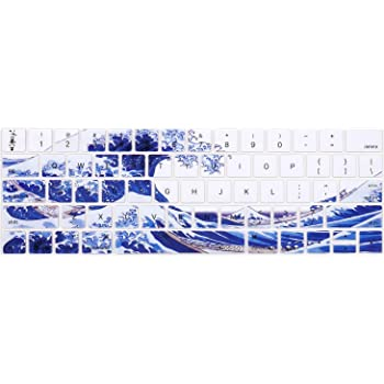 Hot Blue Marble Model: A2159, A1989, A1990, A1706, A1707 ,Pattern Silicone Skin Protector MOSISO Keyboard Cover Compatible with MacBook Pro with Touch Bar 13 and 15 inch 2019 2018 2017 2016