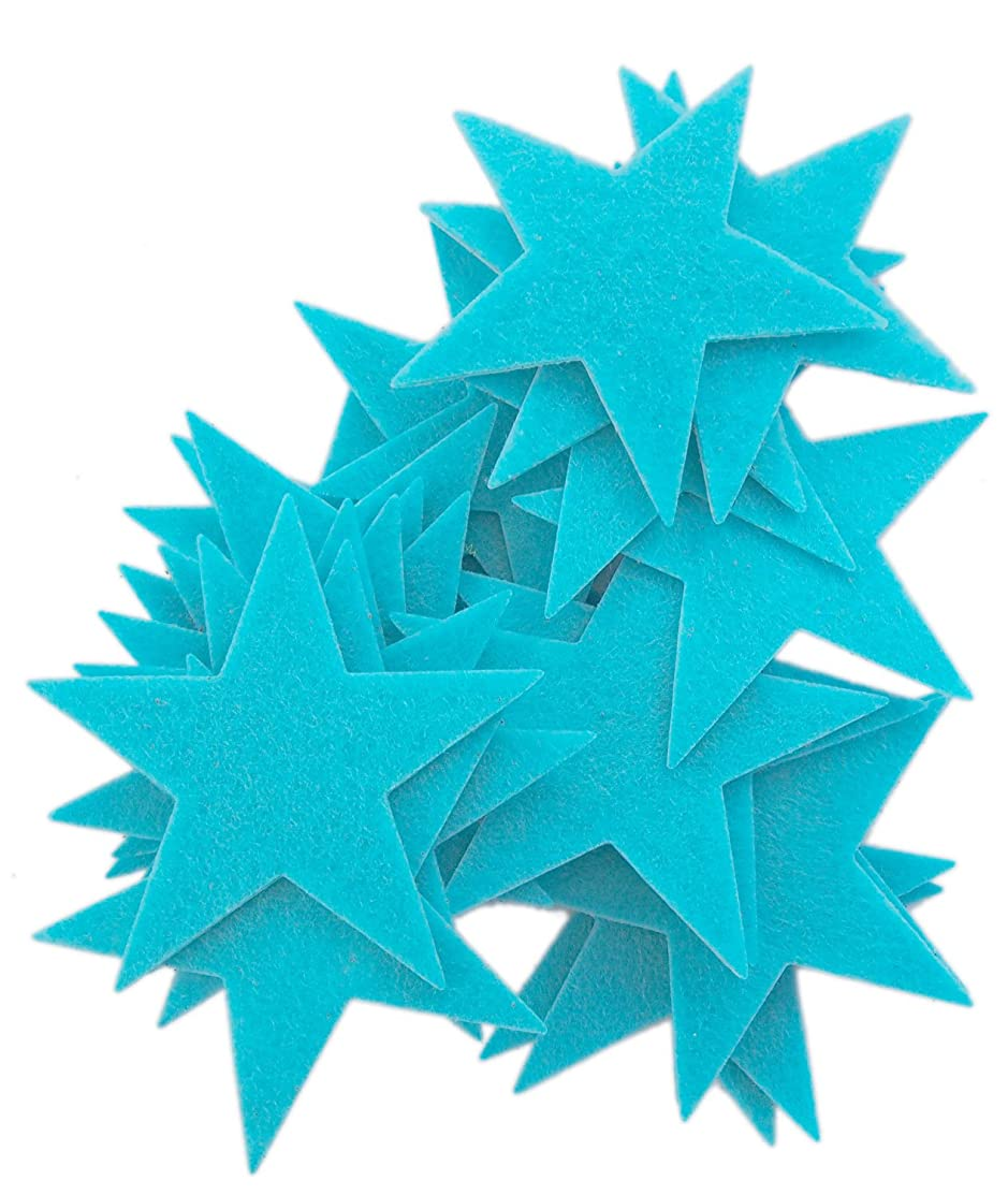 Playfully Ever After 3 Inch Turquoise Blue 22pc Felt Star Stickers