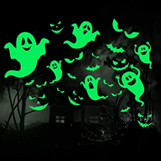 Outus 49 Pieces Halloween Glow in The Dark Window Decals Luminous Stickers Ghost Wall Stickers Bat Wall Stickers Night Glow Decals for Halloween Theme Party