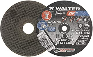 Walter Surface Technologies 11L403 ZIP Performance Cutting and Grinding Cutoff Wheel - [Pack of 25] A-60-ZIP Grit, 4 in. Abrasive Wheel. Abrasive and Finishing Supplies