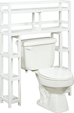 New Ridge Home Goods Dunnsville 2-Tier Space Saver with Side Storage, White
