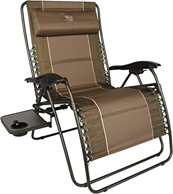 TIMBER RIDGE Oversized Zero Gravity Chair Padded Patio Lounger with Cup Holder Support 350lbs (Brown)