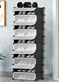 Keekos Portable Shoe Rack Organizer 30 Pair Tower Shelf Storage Cabinet Stand Expandable for Heels, Boots, Slipper-10 Laye...