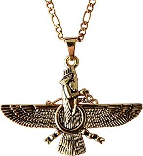 Large Gold Pt Farvahar Necklace Iranian Persian Art Iran Farohar Zoroastrian Faravahar Gift
