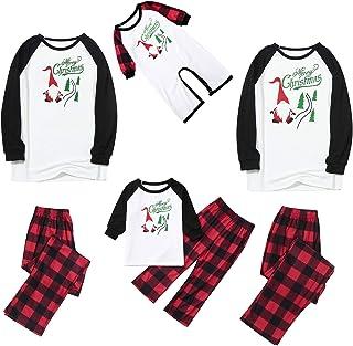 PowerFul-LOT® Christmas Family Pajama Matching Set │ Christmas Letter Plaid Print Top Blouse+Pants Family Clothes Pajamas