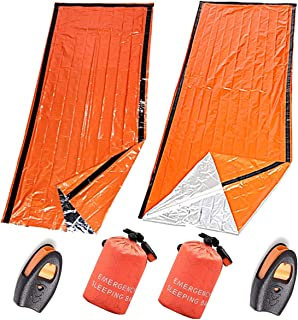 [TradeWind] エマージェンシーシート サバイバルシート 非常用寝袋 ブランケット 防災 避難 登山 車中泊 収納ケース 笛付き 緊急避難用