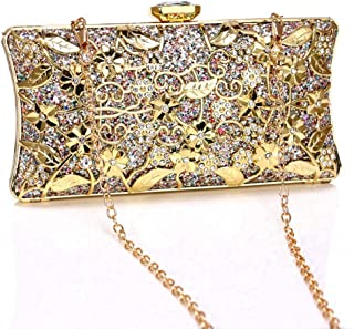 JUNfenghe Women's Metallic Sequins Evening Clutch Hollow Pattern Banquet Bag Bridal Shoulder Tote Crossbody Red/Blue/Gold/Silver Size: 19 * 5 * 9.5cm (Color : Gold)