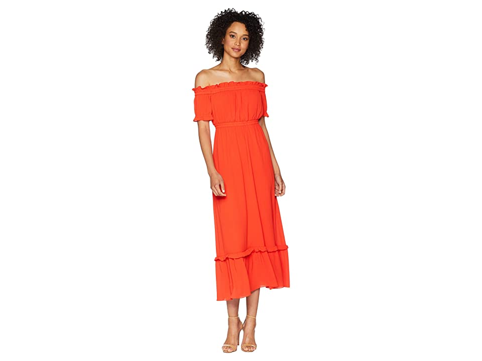 CeCe Vivian Off the Shoulder Smocked Gauze Maxi (Red Hot) Women