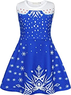 Girls Costume Dress Princess Birthday Cosplay Party Outfits Sleeveless Snowflake 3D Printed Blue