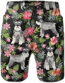 Lixinli Men's Schnauzer Hawaiian Tropical Floral Boardshorts Beach Shorts