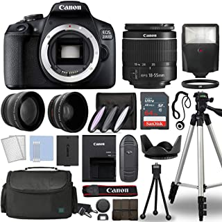 Canon EOS 2000D / Rebel T7 Digital SLR Camera Body w/Canon EF-S 18-55mm f/3.5-5.6 is STM Lens 3 Lens DSLR Kit Bundled with...