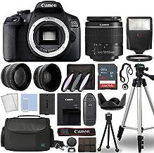Canon EOS 2000D / Rebel T7 Digital SLR Camera Body w/Canon EF-S 18-55mm f/3.5-5.6 Lens 3 Lens DSLR Kit Bundled with Comple...