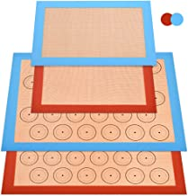 Silicone Baking Mat Sheet, Non-slip Silicone Macaron Mat, 4 Pieces (2 Half Sheets and 2 Quarter Sheets), Heat-resistant No...