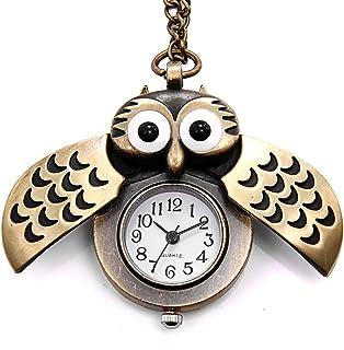 JewelryWe Vintage Retro Owl Bronze Steampunk Locket Pocket Watch Pendant Long Chain 31.5 Inch