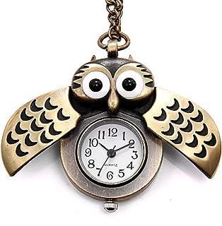 Birthday Gift Vintage Retro Owl Bronze Steampunk Locket Pocket Watch Pendant Long Chain 31.5 Inch